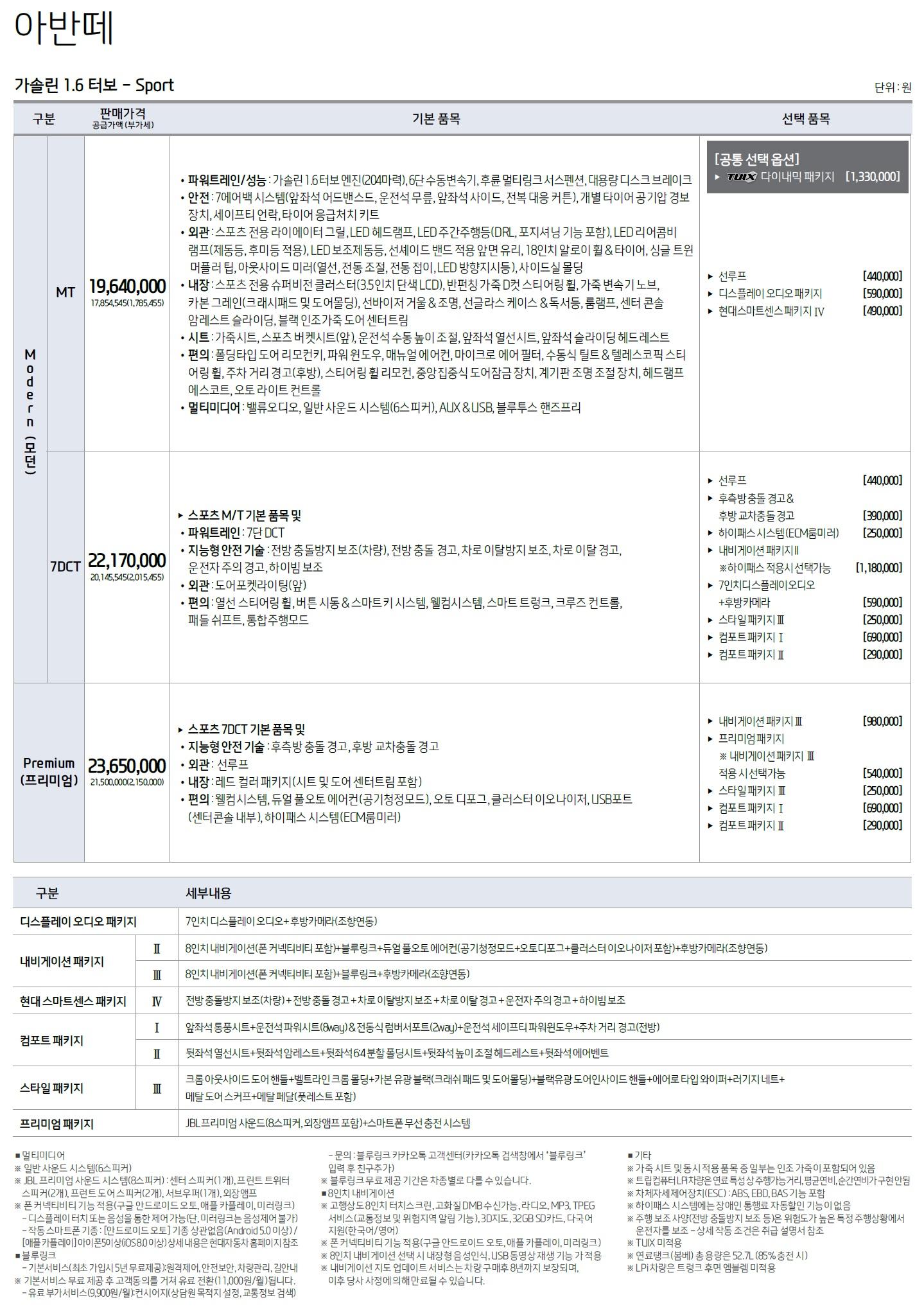 아반떼 가격표 - 2019년형 (2019년 05월) -3.jpg
